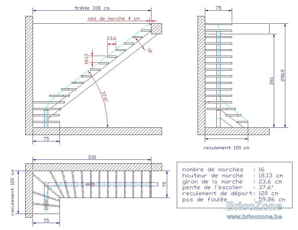 plan escalier quart tournant limon central acier. Black Bedroom Furniture Sets. Home Design Ideas