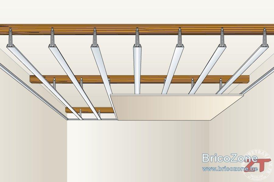 Pose d 39 un faux plafond - Comment mettre des spots dans un faux plafond ...