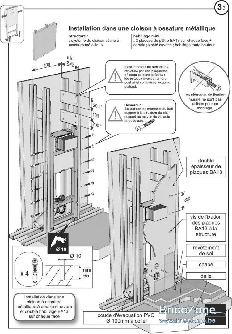 Wc Suspendu 4 Pieds wc suspendu sur cloison placo