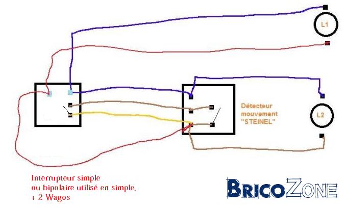 Raccordement 2 lampes ext rieures sur d tecteur - Branchement detecteur de mouvement avec interrupteur ...