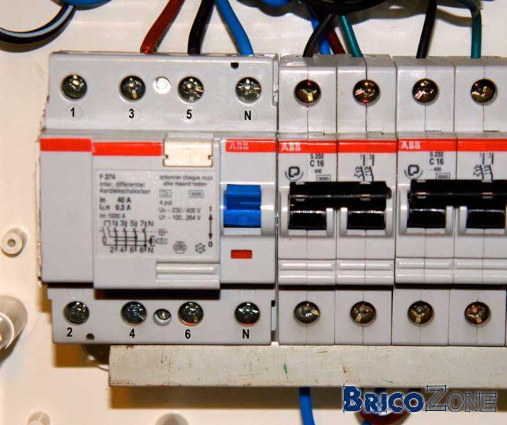 Cablage diff rentiel et bouton test - Branchement disjoncteur differentiel ...