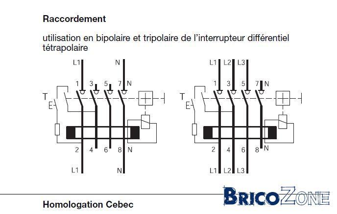 disjoncteur diff u00e9rentiel branchement  schema raccordement disjoncteur differentiel  disjoncteur