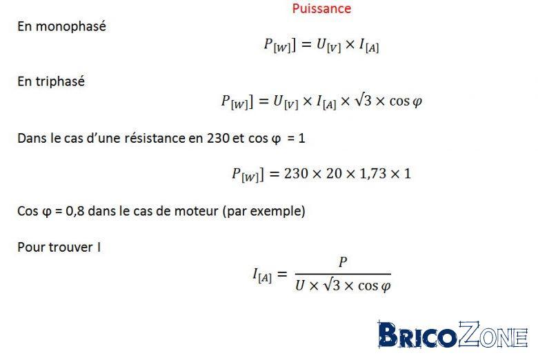 calcul Watt en fonction amp�rage