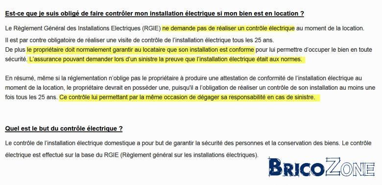 dsol il ny a aucune obligation pour la location uniquement vente mais l installation doit tre en ordre - Realiser Son Installation Electrique Maison