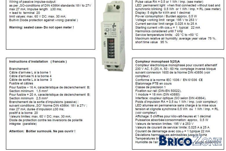Raccordement compteur Kwh pour PAC
