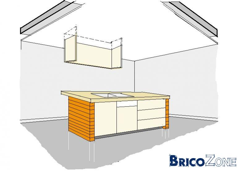 Création d'armoire au dessus d'une cuisine ouverte