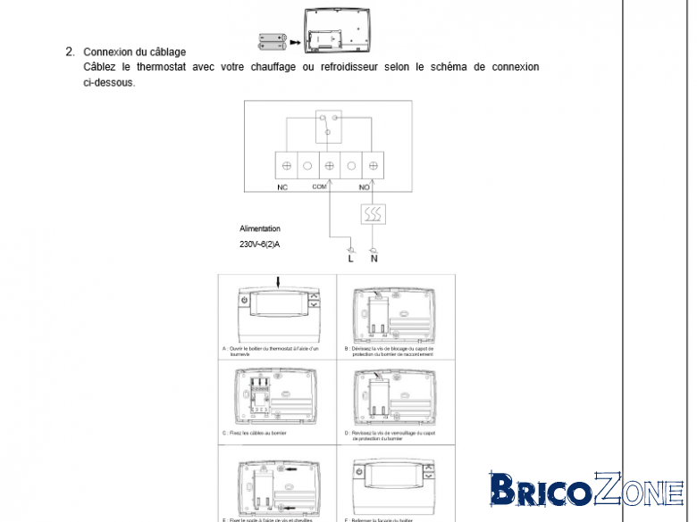 branchement thermostat bulex f25. Black Bedroom Furniture Sets. Home Design Ideas