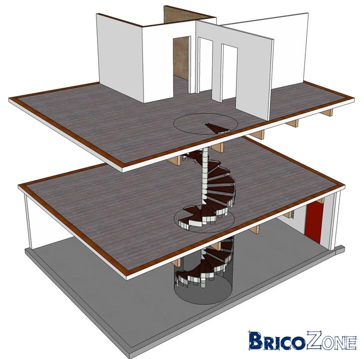 escalier en colimacon sur 2 etages