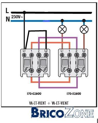 Double va et vient bypass - Comment brancher un interrupteur double va et vient ...