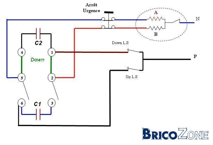 Branchement d'une double pédale électrique pour commander un palan électrique