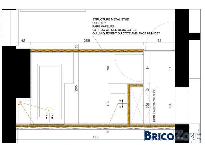 concevoir une salle de bain l 39 tage plancher bois voir les d tails. Black Bedroom Furniture Sets. Home Design Ideas