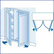 placard (niche) à fermer avec 2 portes battantes