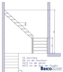 Calcul d'un escalier avec palier