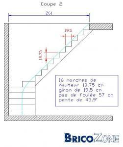 calculer escalier 1/4 touunant