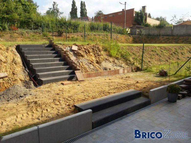 Escalier ext rieur marches pr fabriqu es en b ton - Marche escalier exterieur jardin ...