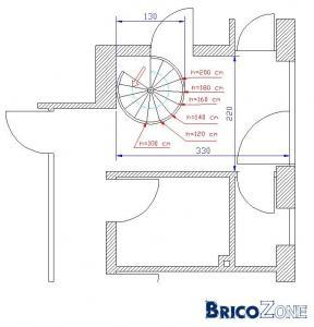 Escalier h lico dal ou echelle de meunier - Dimension escalier helicoidal ...