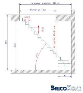 Escalier 1 4 tournant gauche for Plan escalier 1 4 tournant