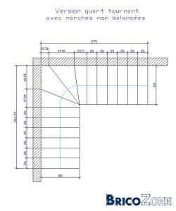 Calcul escalier un quart tournant maçonné
