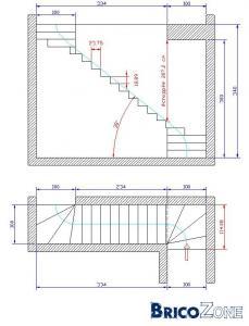 Calcul escalier quart tournant haut et bas - Calcul escalier 1 4 tournant ...