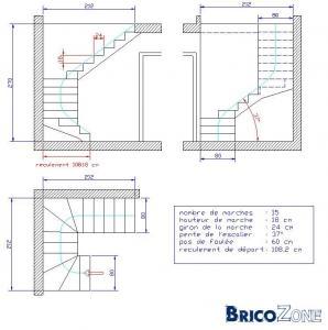 Escalier 2 1 4 tournant for Tremie escalier quart tournant