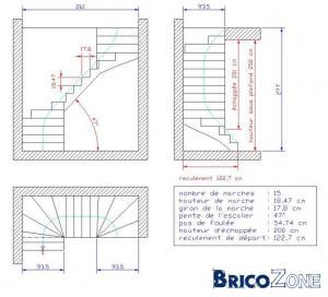 Plan d'un escalier en beton