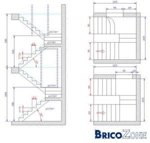 Calcul escalier avec paliers intermédiaires et demi-niveau