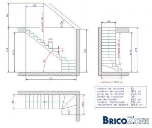 Plan escalier for Dimension escalier exterieur