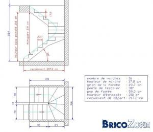 Plan escalier for Dimension escalier bois