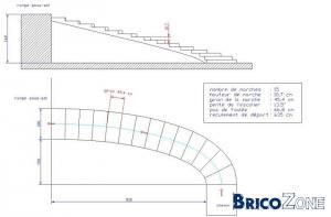 Construction d'un escalier dans un virage