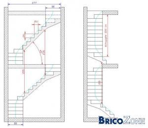 escalier bois double quart tournant droite