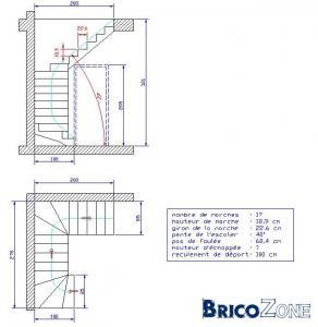 Escalier bois double quart tournant droite - Dimension escalier tournant ...