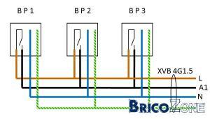 Câblage de BP pour télérupteur: couleur des fils?