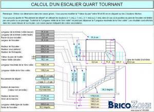 Plan d'escalier quart tournant