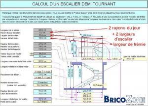 Dimensionnement d 39 un escalier 2 quarts tournant - Calcul escalier 1 4 tournant ...