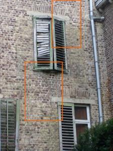 Fissure ou lézarde dans murs de façade.