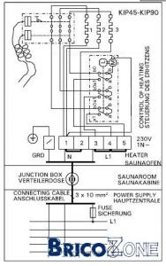 Branchement Poele Sauna 6 KW  220 V