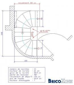 Escalier hélicoidal 180°