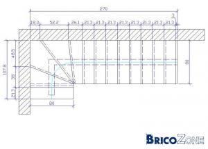 Fabrication escalier quart tournant à droite avec marches rayonnantes