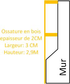 Mur: Profile Knauf UD 27x28 mm ou ossature bois.