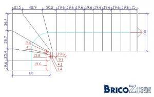 calcul escalier 1/4 tournant bas droit