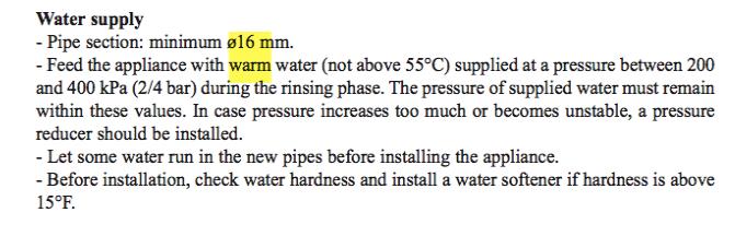 Lave-vaisselle professionnel : alimentation en eau CHAUDE ?