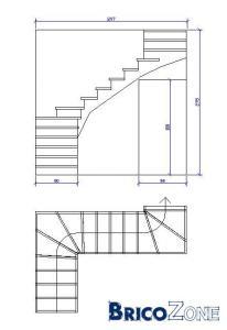Escalier quart tournant au milieu et à l'arrivée?