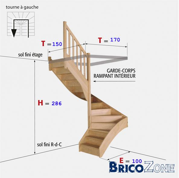 Escalier 1 4 ou double quart tournant - Escalier encombrement minimum ...