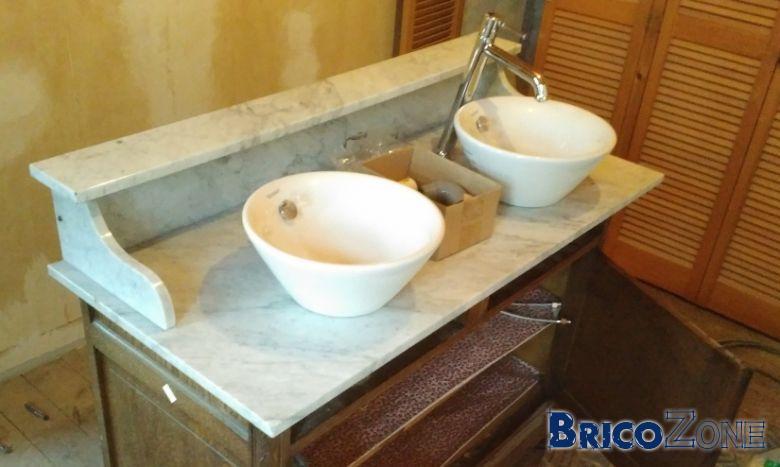 Percer un marbre pour poser deux vasques for Prix d une plaque de marbre