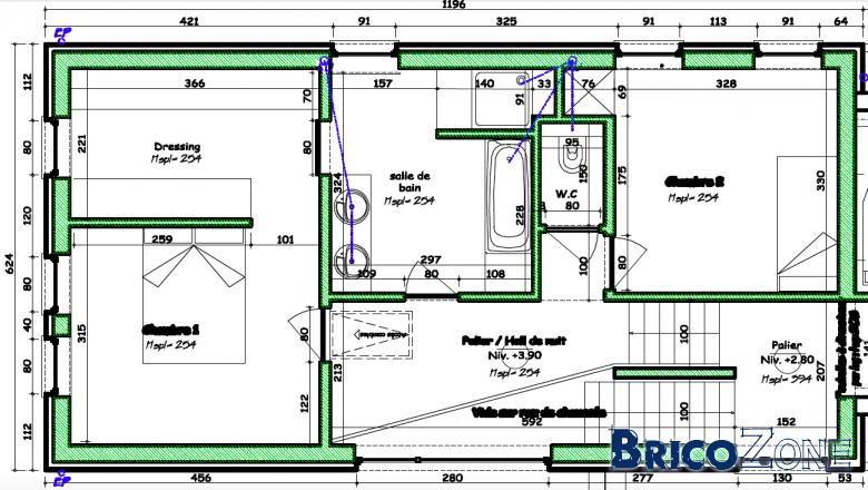 Commentaires plan maison for Baignoire faible largeur