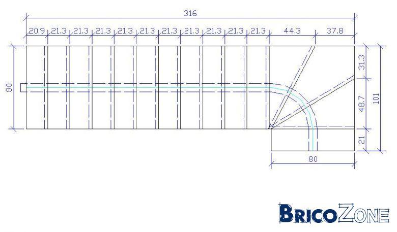 Calcul d 39 un escalier quart tournant bas for Calcul escalier exterieur