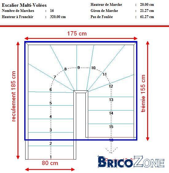 Escalier 2 4 tournant espace r duit for Hauteur plafond standard